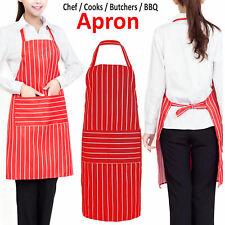 Apron Washable Pocket Waiter Chef Kitchen Cooking Striped Black White Red Bib