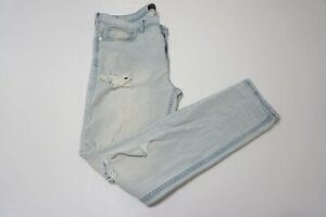 Pacsun-Light-wash-Skinny-Distressed-Ripped-Mens-Jeans-Sz-34-32