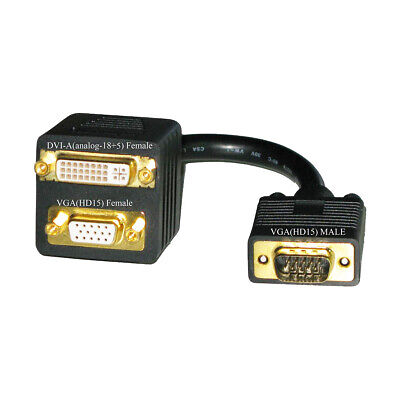 Video Adapter Y Splitter Cable DVI-A Male to VGA HD15 Female /& DVI-A Female