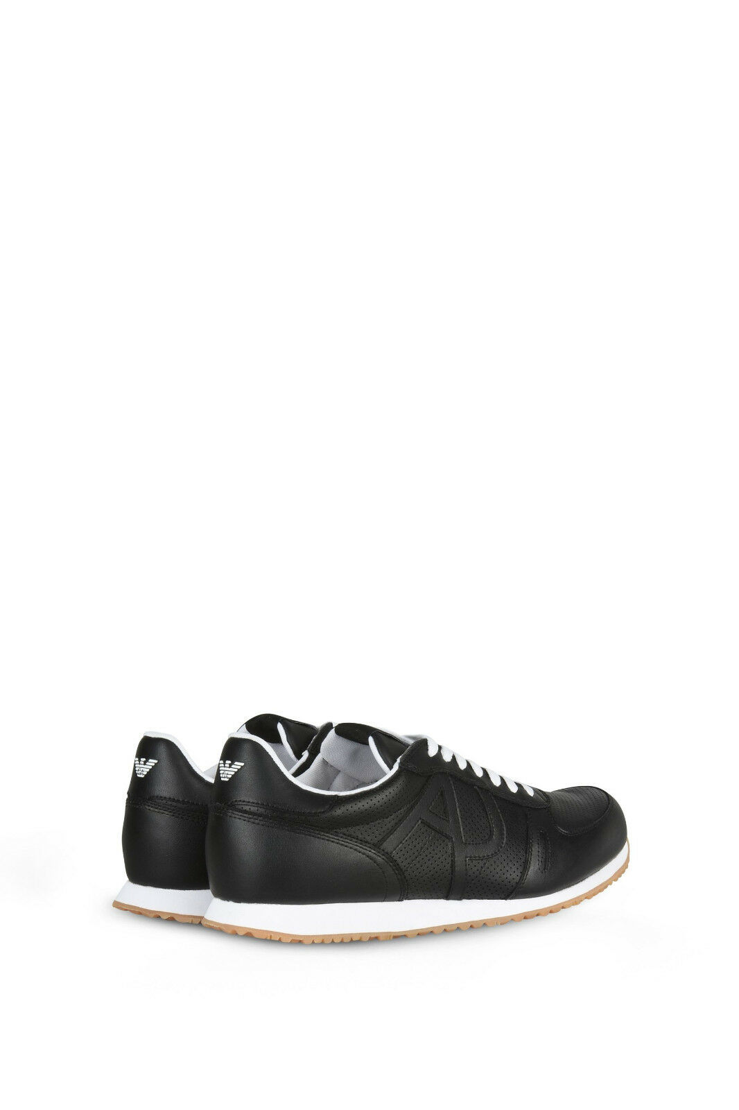 Armani Jeans Leder Sneakers- schwarz with WEISS Laces