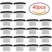 40pack Black Wig Combs Steel Tooth Comb Wig Accessories For Wig Caps Lace Cap