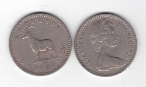 RHODESIA 2-1//2 SHILLINGS = 25 CENT COIN 1964 YEAR KM#4