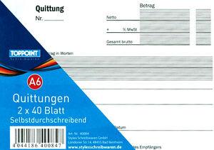5 Stück Quittungsblock Quittungsbuch Quittung 2 x 40 Blatt ...