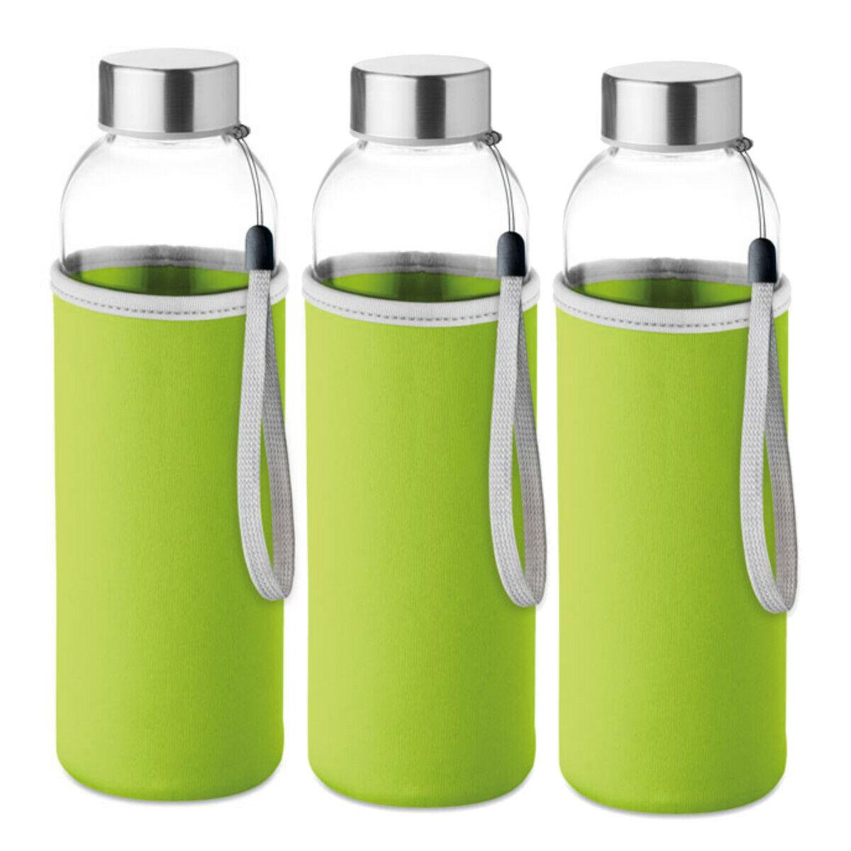 Conjunto de 3 botellas de cristal con funda de neopreno color verde 500 ml