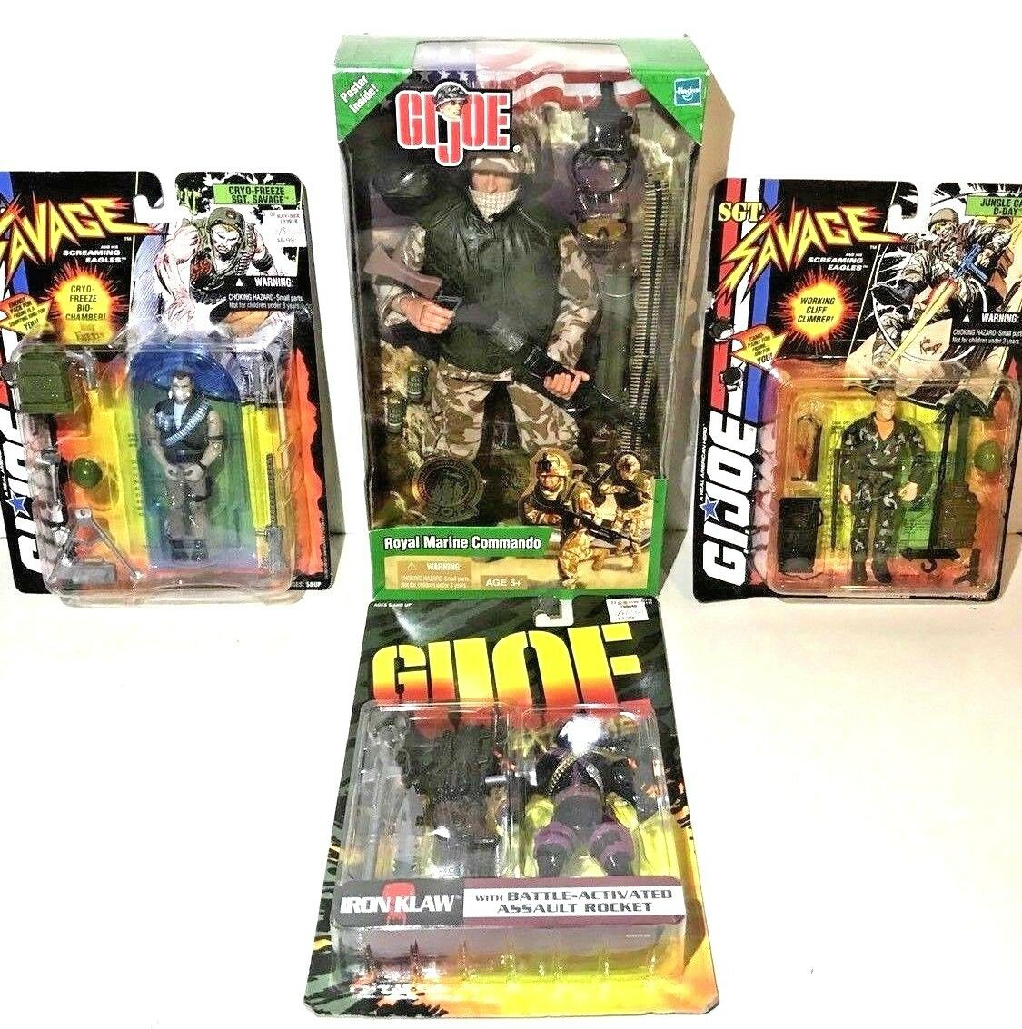 G.I. Joe Action Figure Lot of 4 Royal Marine Commando Sgt. Savage Iron Claw MOC