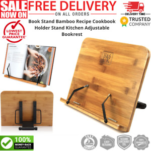 H/&S Book Stand Bamboo Recipe Cookbook Holder Stand Kitchen Adjustable Bookrest Reading