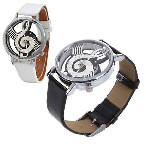 S2-Damen-Herren-Musik-Skelett-Uhr-Kunstleder-Armband-Quarz-Armbanduhr-Schwarz