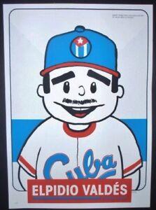 ELPIDIO-VALDES-Cuban-Screenprint-Poster-Salutes-US-Cuba-Ties-Comics-Baseball