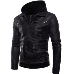 Mens-Leather-Jacket-False-Two-Pieces-Hooded-Punk-Motorcycle-Zipper-Plus-Size-Hot