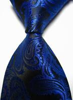 New Classic Paisleys Blue Black JACQUARD WOVEN 100% Silk Men's Tie Necktie