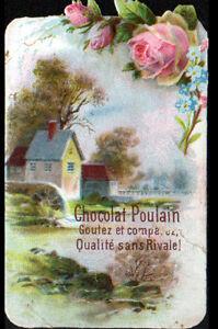 IMAGE-CHROMO-CHOCOLAT-POULAIN-FLEURS-ROSE-amp-MYOSOTIS-MOULIN-a-EAU