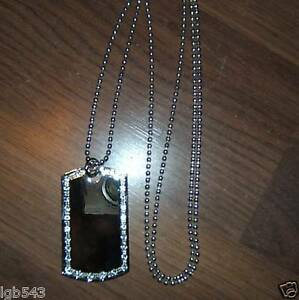 MIP- Chrome Dog Tag with one row of CZ stones and a 36