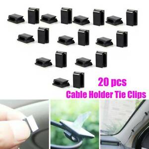 20x Car Wire Cord Cable Holder Tie Clips Fixer Organizer Drop Adhesive Clamp HI