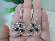 Natural Deep Blue SAPPHIRE Stones Sterling 925 Silver Flower EARRINGS ChunKY