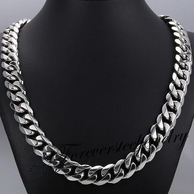 "15mm 316L Stainless Steel Heavy Link Silver Curb Cuban Chain Men Necklace 8""-36"""