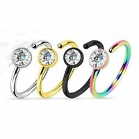 Nose Rings Hoop Black Gold Multi Color And Silver With Clear Gem 4pc 20g 5/16