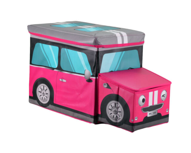 Large Kids Clothes Storage Seat Bedroom Toys Books Box Chest Girl Car Pink Mini