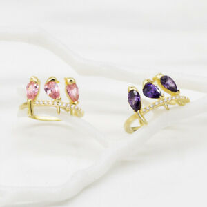 Three-Birds-Shaped-Pink-Purple-Sapphire-Gold-Filled-Cocktail-Party-Ring-Sz-6-10