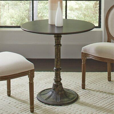 Round Dining Table In Distressed Black