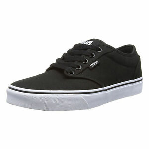 VANS-Atwood-Mens-Canvas-Skater-Trainers-Plain-Shoes-Lace-Up-Plimsoll-Black-White