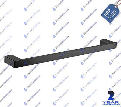 Square  Design Bathroom Single Towel Rail Matte Black Finish 750mm