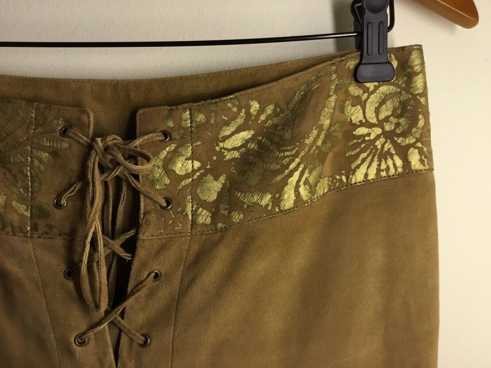 Ralph Lauren Black Label Gold Painted Brown Suede… - image 3