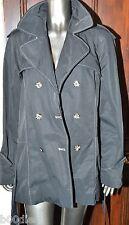 PAUL COSTELLOE DRESSAGE BLACK RAINCOAT JACKET MAC NYLON COTTON SIZE LARGE USED