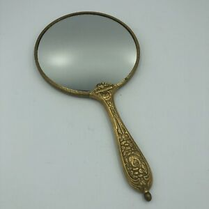 Vintage-Gold-Plated-Vanity-2-Sided-Hand-Mirror-Floral-10-5-034-LOVELY