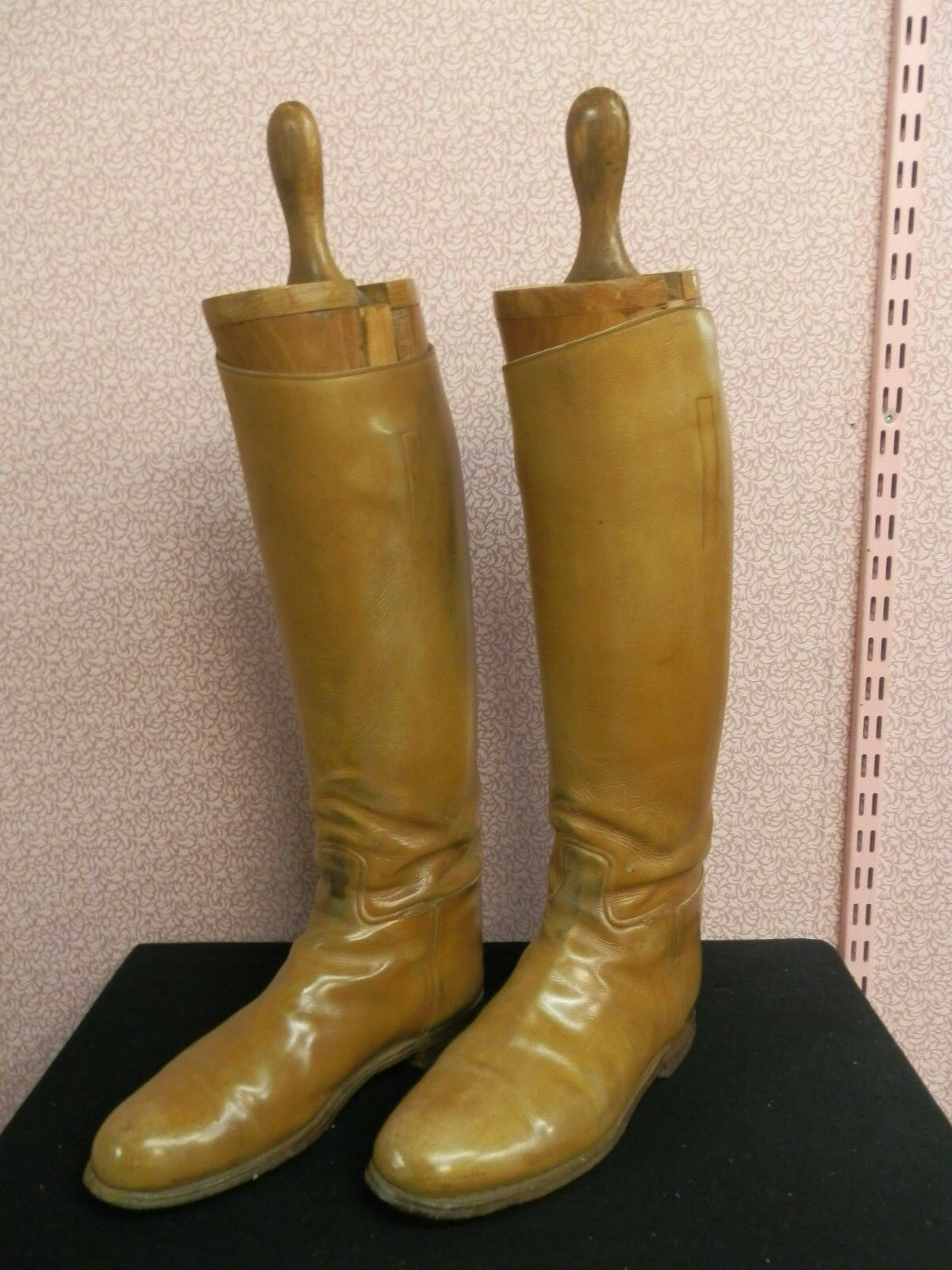 Vintage Mens Tan Hunt Polo Leather Boots & Trees By H Batten Northampton - 10s