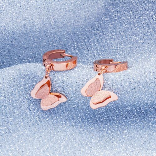Damen Creolen Ohrhänger Schmetterling Edelstahl Rosegold Ohrringe Kreolen