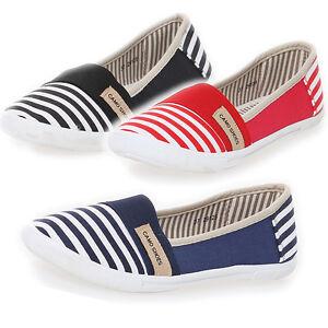 6c2834ad37a8ca Das Bild wird geladen Damen-Sommerschuh-Slipper-Sneakers-Stoffschuhe -Streifen-NEU-NEU-