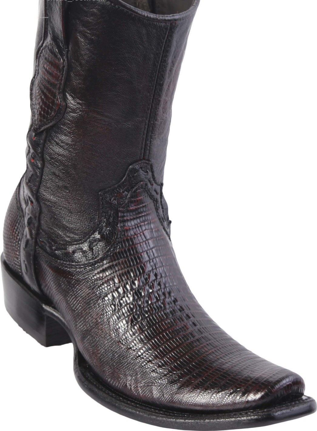 King Exotic CHERRY TEJU LIZARD Western Boot Side Zipper Mid Calf EE+