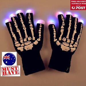 Adult Party Halloween Ghost Gothic Black Skull Skeleton LED Bone Long Gloves