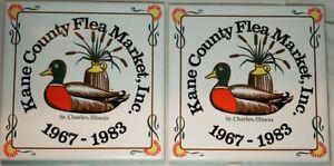 Vintage-Tile-Trivet-Coaster-Set-of-Two-Duck-Kane-County-Flea-Market-St-Charles