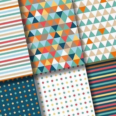 exclusive 48/24pc contemporary triangle strip polka dot scrapbook paper 6 design
