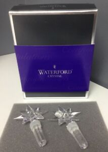 WATERFORD-NIB-One-Pair-Clear-Crystal-Star-Celebration-Bottle-Stoppers-4-5-In-SR