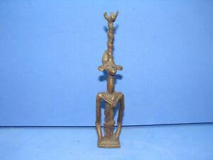 Graziosa Antica Scultura IN Bronzo, Africano, Uomo Lunghi Braccia