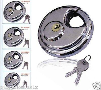Disc padlock 70mm Steel Armor Storage Store Trailer Track Round lock 2 key 2-3/4