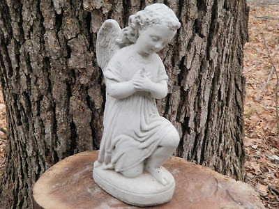"""9"""" Tall Cement Kneeling Angel Statue Garden Art Concrete Memorial"""