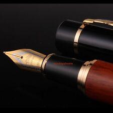Jinhao Natural Rose Wood Barrel 18kgp Medium Nib Fountain Pen Black Cap