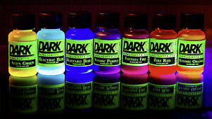 Blacklight-GLOW-Liquid-Watercolor-Paint-Ink-Dye-7-Color-Set-Neon-Fluorescent