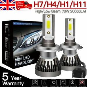 2X-H1-H4-H7-H11-Voiture-DEL-Phare-70-W-20000-LM-Ampoules-Kit-6000k-9003-Canbus-UK