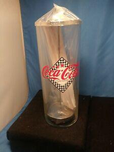 Vintage-Coca-Cola-Straw-Dispenser-Holder-Glass-amp-Chrome-Diner-Style-Coke-NEW-NEW