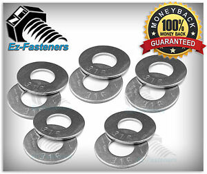 """18-8 Stainless Steel Flat Washers 1//4/"""" Qty 250 pcs Pack"""