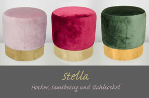 STELLA-Hocker-Samt-Metall-2er-Set-Sitzhocker-Retro-Industrie-viele-Farben
