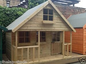 Details About 8x8 Childrens Wooden Playhouse Two Storey Kids Mini Chateau Tanalised Tg Den