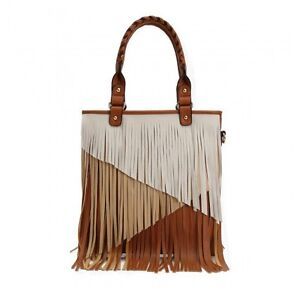 ebe459d80ab1 Image is loading handbag-fringe-purse-bag-winter-white-brown-DH-