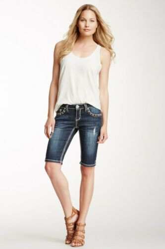 Grace In LA Jean Shorts Low Rise Embellished Stud Flap Pocket Bermuda Denim