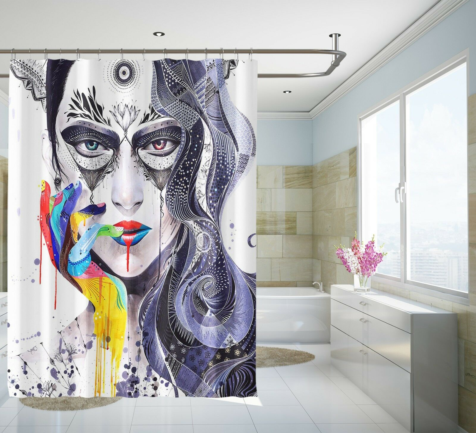 3D Farbe Mädchen 3 Duschvorhang Wasserdicht Faser Bad Daheim Windows Toilette DE