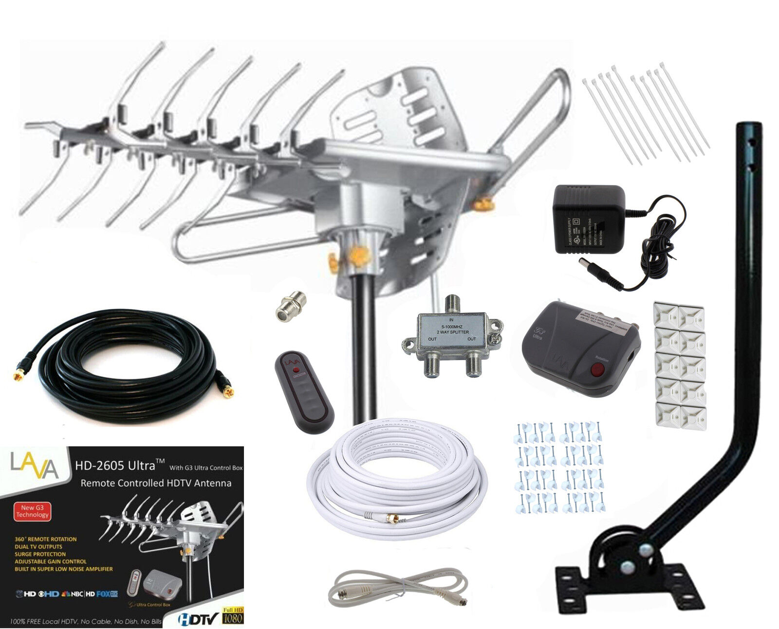 LAVA HD2605 HDTV DIGITAL ROTOR AMPLIFIED OUTDOOR HD TV ANTENNA CABLE J-POLE. Available Now for 99.90